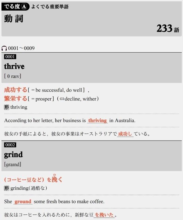パス単1級の語彙レベル